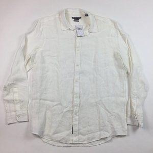 NEW Michael Kors White Linen Button shirt XL Z27